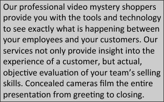 Our professional video mystery shoppers